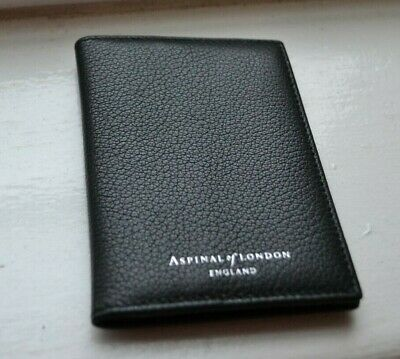 Aspinal Of London Black Double Fold Leather Credit Card Holder New Initials Dj