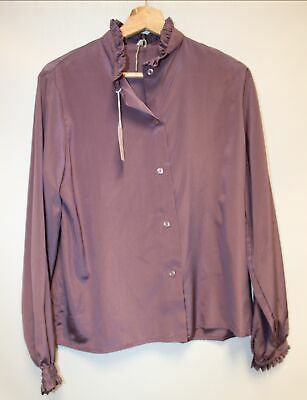 "Ladies UNBRANDED Purple Silk Ruffle Buttoned Long Sleeve Shirt UK 38"" - C06"