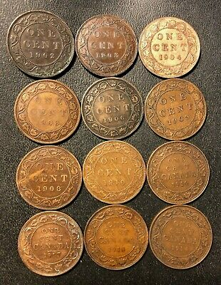 Old Canada Coin Lot - 1902-1919 - 12 High Grade Large Cents - Lot #F24