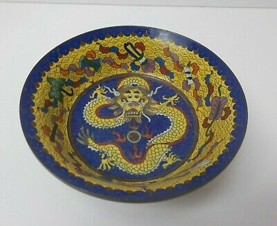 """19th C. Chinese Cloisonne on Bronze 6.75"""" Colorful Dragon Bowl"""