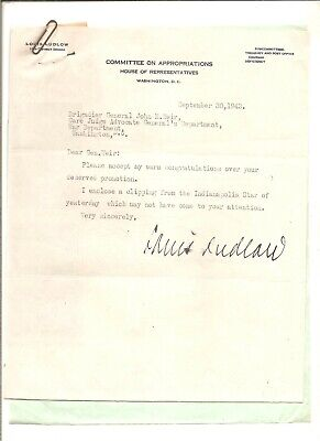 1943 signed letter House Representatives Louis Ludlow to General John Weir