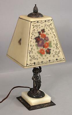 Authentic Antique Signed PAIRPOINT Shade & Silverplate Cherub Boudoir Table Lamp