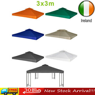 3x3m 2-Tier Garden Tent Gazebo Top Cover Roof Replacement Canopy Fabric 310 g/m²