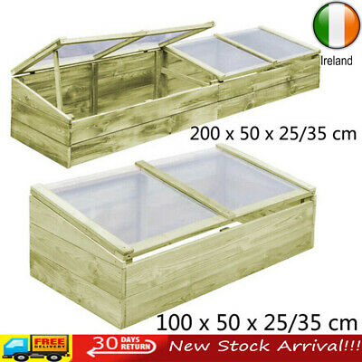 Wooden Greenhouse with Roof Cold Frame Growhouse Hothouse Green Plant Flower Bed