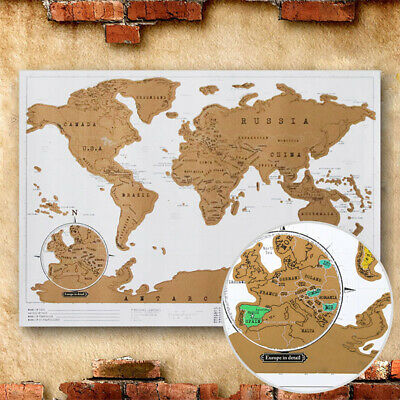 Deluxe World Scratch Off Map Travel Holiday Poster Wall Paper Kids Gift 41x29cm