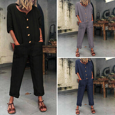 Womens Jumpsuits Long Sleeve Solid Romper Buttons Overall Wide Leg Pants Loose