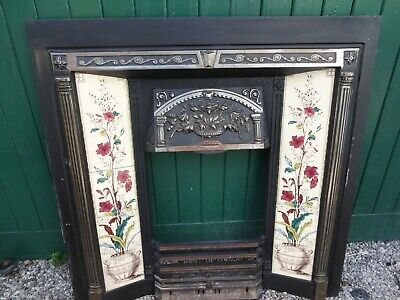 art nouveau style stovax cast iron plant & urn tiled fireplace & grill
