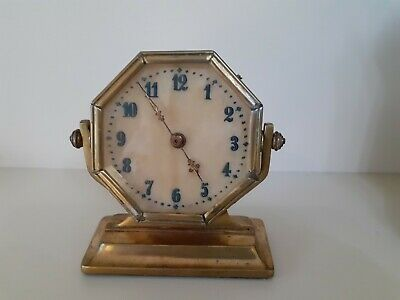 Interesting Antique Solid Brass Swivel Mounted Octagonal Wind Up Clock 10cm Tall