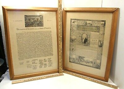 Vintage Framed Us Constitution & Declaration Of Independence Decorative