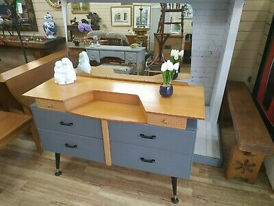 Retro Lebus Dressing Table Desk + Mirror Light Oak + Grey Vintage Refurbished