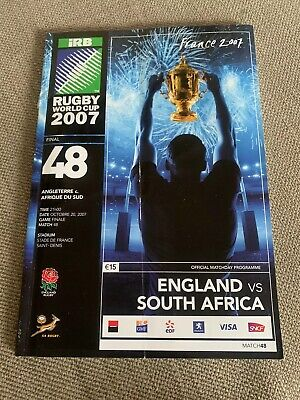 Rugby World Cup 2007 Programme No. 48 England v South Africa Final And Ticket