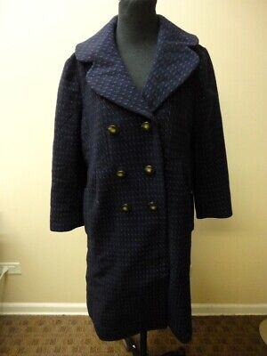 MARC BY MARC JACOBS Blue Wool Blend Lined Double Breasted Coat Size L HH5007