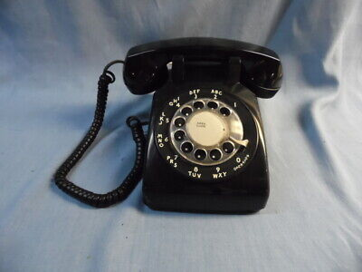 Vtg Western Electric Bell System Black Rotary Desk Modular Phone ~Tested Works!