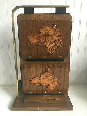 Vtg Wood 4 Tier Free Standing Magazine Newspaper Rack Carved Dog Heads