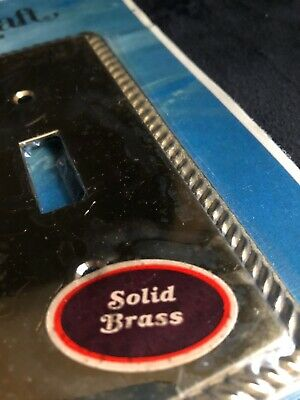 New Old Stock Solid Brass Double Switch Plate W/ Embossed Rope Accent Vintage
