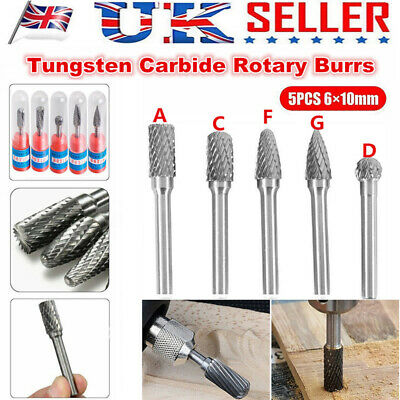 5pc Tungsten 6*10mm Head Carbide Burrs For Rotary Drill Die Grinder Carving Bits