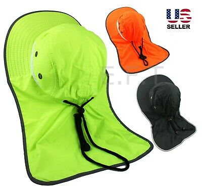 Men Reflective Waterproof Neck Flap Boonie Hat High Visibility Safety Bucket Cap