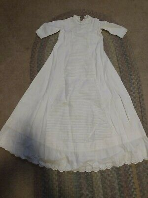 Antique Vintage Infant Baby's Christening White Ivory Long Gown