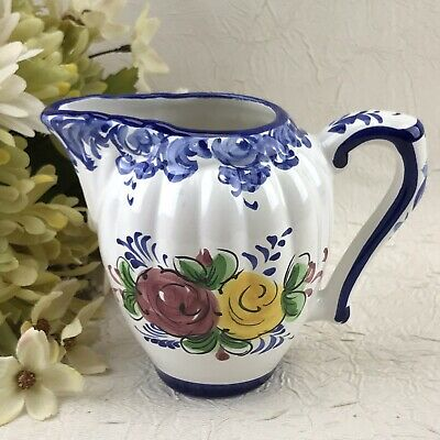Creamer Small Pitcher Porta Portuguese Pottery Portugal  Blue Floral > CRAZED <