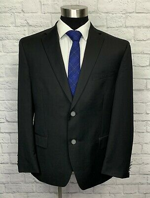 $295 Alfani Mens Black Wool Blend Metal Button Slim Fit Sport Coat Blazer 44S