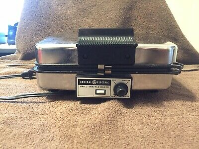 Vtg NOS General Electric GE G48T Electric Grill Wafflebaker Waffle Maker Irons