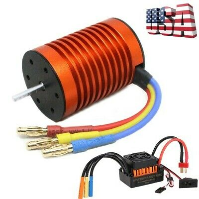 9T 4370KV Brushless Motor with 60A ESC Speed Controller Combo For 1/10 RC Cars