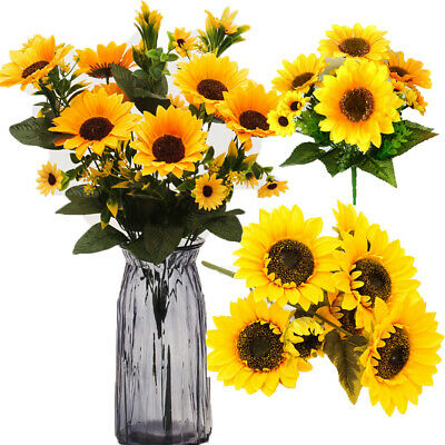 Yellow Sunflower Silk Artificial Flowers Bouquet For Home Wedding Party Decor