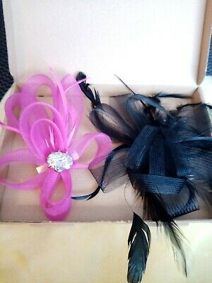 Used 2 Lovely Pink Clip And Black Comb Fascinator for Wedding Or Races