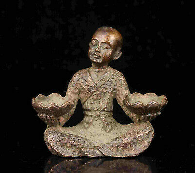 China Old Collectible Hand Engraving Red Copper Buddhist Monk Statue