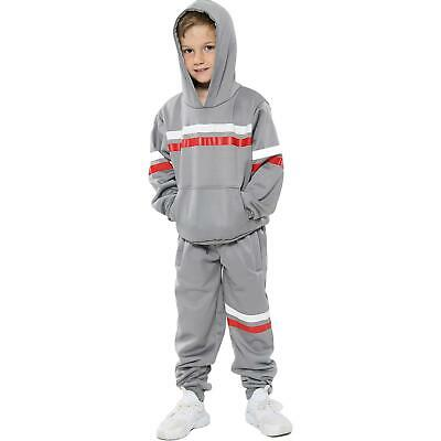 Kids Girls Boys Tracksuits Grey Fleece Hoodied Joggingsuit Top Bottom Sportswear