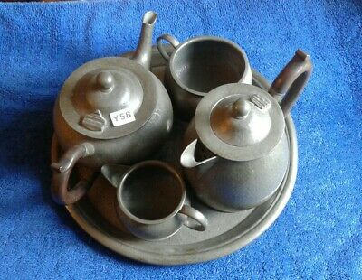 Arts And Craft Hand Beaten Pewter Tea Service By George Waterhouse & Co