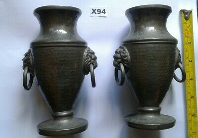 Arts And Crafts Pewter Urn Style Vases X 2 With Lion Head Handles