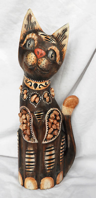 Hand Carved & Painted Wooden Cat Figure Set with Stones - Unusual Item - New (E)