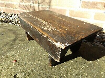 vintage old wooden stool made from pilchards crate milking
