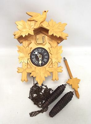 Vintage Wooden German CUCKOO CLOCK With Pendulum & Weights UNTESTED - E09