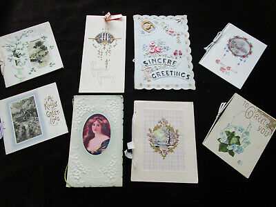 LOT of 8 Antique Gibson+ Victorian Christmas Cards Booklet / Satin & Cording