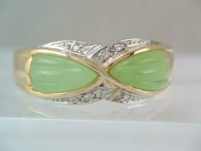 Gorgeous  Designer 14K Solid Gold Diamond & Carved Green Jade Jadeite Stone Ring