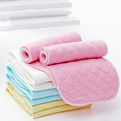 10Pcs Reusable Baby Cotton Cloth Diaper 3 Layers Washable Nappy Breathable US