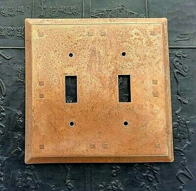 One copper patina double switch plate cover beveled edges Craftsman Mission