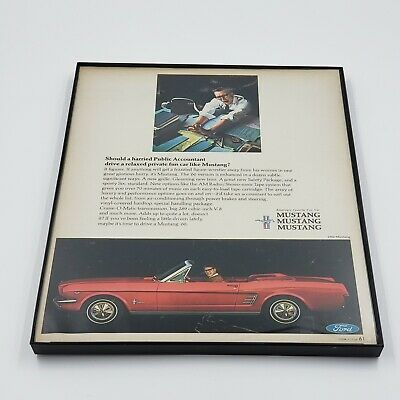 Vintage 1966 RED FORD MUSTANG Advertising FRAMED LOOK Magazine ADVERTISE