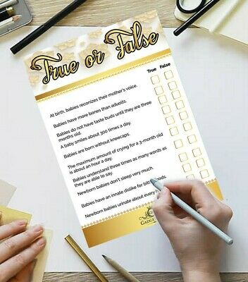 25 Player Baby Shower Games True Or False Quiz Boy Girl Unisex Party Trivia