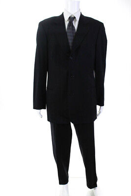 Hugo Boss Mens Three Button Jacket Trousers Pants Suit Black Wool Size 42T