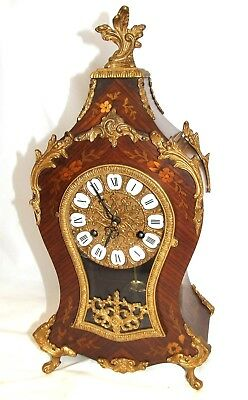 Antique Louis XV Style Franz Hermle Inlaid Walnut TING TANG Mantel Bracket Clock
