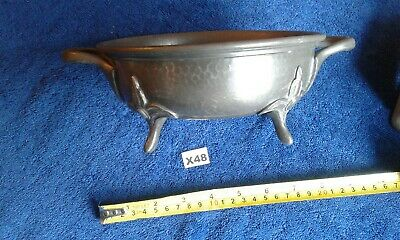 Arts And Crafts Argent Pewter Bowl On Four Feet With Two Handles