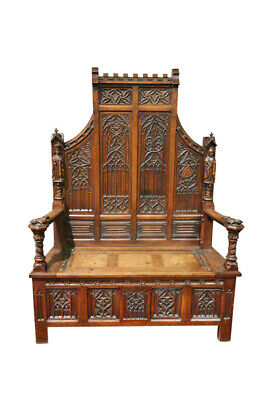 Ornate High Backed French Gothic Bench, Oak, 19th Century, Antique