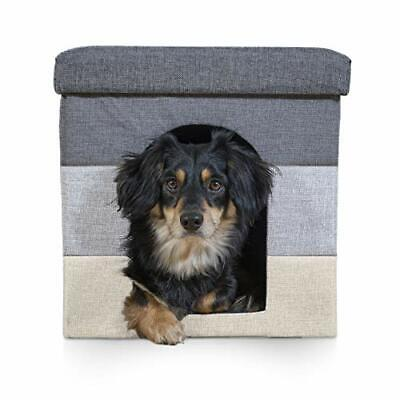 Furhaven Pet Dog Bed & Cat Bed House | (Small|Hygge Stripe (Grays & Cream))