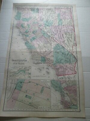 """ONE (1), 1876 GRAY'S ATLAS MAP:  """"CALIFORNIA AND NEVADA"""" ++ as seen pictures"""