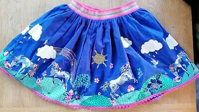 Monsoon girls age 11-12 skirt blue with horse print
