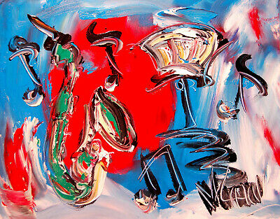 Modern JAZZ MUSIC Abstract Oil Painting Original Canvas Wall Decor Impressionist