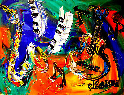 Modern  Abstract Oil Painting JAZZ  Original Canvas Wall Decor Impressionist